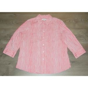 FOXCROFT Pink White Gingham Fitted Shirt 14